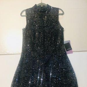 NWT Marina sequin grey. cocktail dress size 12